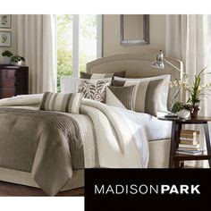 @Overstock.com - Madison Park Eastridge 7-piece Comforter Set - Add a fresh look to your bedroom with this seven-piece Madison Park comforter made in neutral colors of ivory, pearl, and taupe with jacquard detail. This set comes with one comforter, two pillow shams, one bedskirt, and three decorative pillows.  http://www.overstock.com/Bedding-Bath/Madison-Park-Eastridge-7-piece-Comforter-Set/5955586/product.html?CID=214117 $94.48