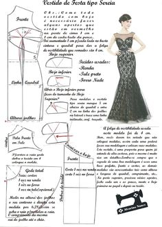 Costura e Modelagem Dress Sewing Patterns, Clothing Patterns, Fashion Sewing, Diy Fashion, Moda Fashion, Womens Fashion, Sewing Clothes, Diy Clothes, Sewing Pants