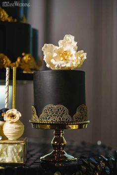 Mini Black and Gold Wedding Cake, Mini Black Wedding Cake, Mini Wedding Cakes | ElegantWedding.ca