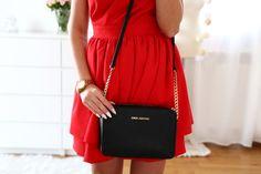 red dress, michael kors bag