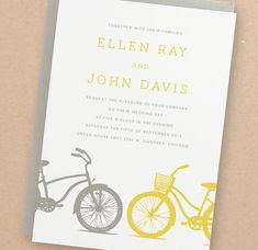 "DIY~ ""Yellow Bike"" Printable Wedding Invitation Suite   |  from ~Leslie Hamer~ at *SwellandGrand* Chicago, Illinois  |"