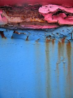 Pink and blue rust - I thought this was some crazy landscape at first.