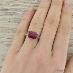 Art Deco 2.75 Carat Emerald Cut Burmese Ruby & Diamond Ring, Platinum, Circa 1940 | 314813 | Sellingantiques.co.uk