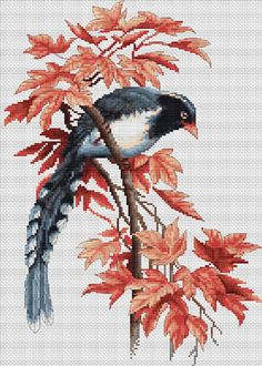 Bird with autumn leaves Counted Cross Stitch Kit Cross Stitch pattern Luca-S Embroidery kit Needlework Hand embroidery Home stitching decor Cross Stitch Kitchen, Cross Stitch Bird, Cross Stitch Animals, Counted Cross Stitch Kits, Cross Stitch Designs, Cross Stitching, Cross Stitch Patterns, Embroidery Kits, Embroidery Patterns Free