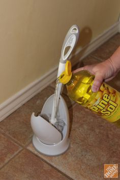 Pour a small amount of Pine-Sol All Purpose Cleaner or your favorite scented cleaning product) in the bottom of the toilet brush holder. This keeps the bathroom smelling clean, and it means a quick scrub of the toilet has a little more power.