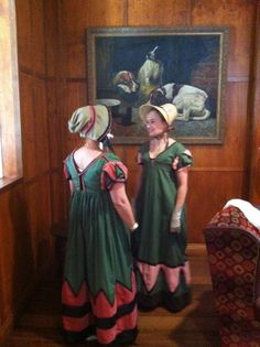 Two recreations of a 1820 archery gown, made by different seamstresses - I love seeing different interpretations of the same costume, its such fun! | by The Tailors Apprentice, for the Jane Austen Festival Australia 2012 challenge.