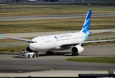 Garuda Indonesia Airbus A330-343E being towed at Airbus home base at Toulouse-Blagnac International Airport