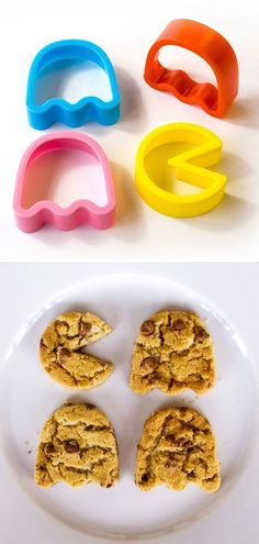 Pacman Cookie Cutters.  I would love to do this with sugar cookies and then color them accordingly. . hehe