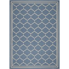 $192 Safavieh Indoor/ Outdoor Courtyard Bordered Blue/ Beige Rug (8' x 11') | Overstock™ Shopping - Great Deals on Safavieh 7x9 - 10x14 Rugs