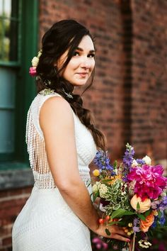 Nicole & Luke's colourful wedding at Airship 37 - Foxes Photography, Bustle, Sash, Wedding Colors, Brides, Wedding Planning, Wedding Day, Flower Girl Dresses, Wedding Dresses