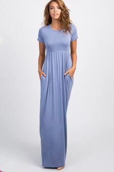 83d66b09ca Periwinkle Solid Side Pocket Maxi Dress