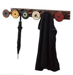 upcycled spool coat rack