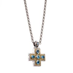 Cross in 18K Gold, Sterling Silver and Blue topaz. Byzantine Collection #GerochristoJewelry