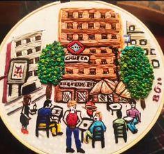 Plaza de Chueca Hand Embroidery Projects, Plaza, Breakfast, Tableware, Food, Art, Morning Coffee, Dinnerware, Tablewares
