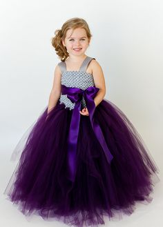 Flower Girl Tutu Dress in Plum and Gray