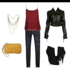 High heel boots, skinny jeans, red tank top and a clutch