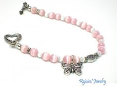 """""""For Alice"""" Message Bracelet of Hope. One day every woman who has breast cancer will be free as a butterfly.  7 1/2 inch. $30 www.rejoicejewelry.com"""