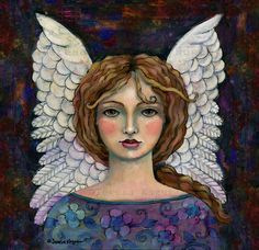 """""""In Command"""" acrylic painting by Teresa Kogut. Read about what inspired her to create this angel."""
