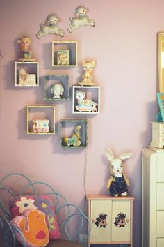 LIKE SHADOW BOXES FOR KIDS! WHAT A GREAT IDEA TO KEEP THINGS CUTE BUT OUT OF THE REACH OF BABES!