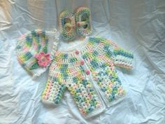 Hand-Crocheted baby sweater set by UptownBabies on Etsy