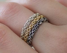Set of 3 Stack Rings - Stackable Flexible Comfortable Chainmaille Rings - choose gold-filled or Argentium silver - save on three Wire Jewelry Rings, Wire Wrapped Jewelry, Metal Jewelry, Beaded Jewelry, Jewelery, Jump Ring Jewelry, Chainmaille Bracelet, Homemade Jewelry, Fantasy Jewelry
