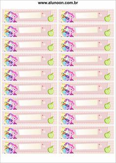 33 Etiquetas para imprimir - Aluno On Unicorn Birthday Decorations, Unicorn Themed Birthday Party, My Little Pony Birthday Party, Printable Planner Stickers, Journal Stickers, Printable Labels, Name Tag For School, School Name Labels, My Little Pony Printable