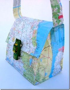 this messenger bag made from a map and toy car is the coolest thing ever!