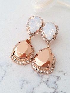 Rose gold Chandelier earrings,Rose gold white opal Bridal earrings,Rose gold earrings,Bridesmaids gift,Drop earrings,Rhinestone earrings by EldorTinaJewelry   http://etsy.me/2cQSDZL