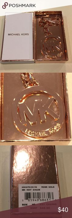 Micheal Kors Rose Gold Monogram Logo Keychain  Micheal Kors Rose Gold Monogram Logo Keychain. Adorable to hang on your purse or use on your key ring. New in box, great gift for the holidays!  Michael Kors Accessories Key & Card Holders