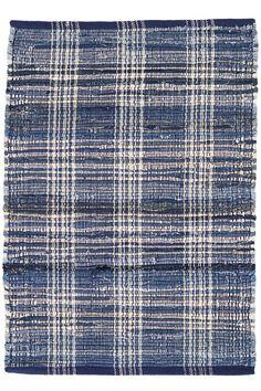 Denim Plaid Woven Cotton Rug