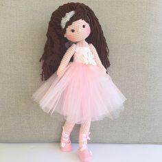 Beautiful romantic ballerina crochet doll
