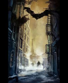 View an image titled 'Gotham Alley Art' in our Batman: Arkham City art gallery featuring official character designs, concept art, and promo pictures. Batman Arkham City, Le Joker Batman, Batman Robin, Gotham City, Batman City, Batman Arkham Knight, Batman Stuff, Batman Cartoon, Joker Game