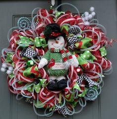 Snowman Christmas Wreath Winter Wreath by EverWreath on Etsy