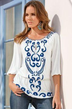 NWT Boston Proper Blue White Embroidered Peasant Boho Top Tunic Blouse L 14 16…