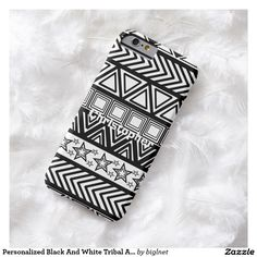 Personalized Black And White Tribal Art Pattern Barely There iPhone 6 Case