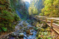 Jánošíkove diery - najkrajšie tiesňavy v Malej Fatre - PlanetSlovakia.sk Garden Bridge, Outdoor Structures, River, Rivers
