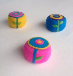 Items similar to Organic Felted Soap Goat Milk Pop Art Blue Flower on Hot Pink Made on the Farm on Etsy
