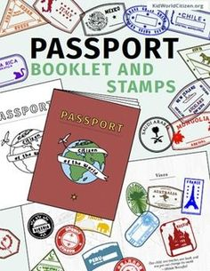 """Passport Stamps and Passport Booklet: These passport stamps and passport booklet are absolutely amazing!!! Perfect for an around the world unit, introduction to country studies, a Geography Fair, International Night, Social Studies Units, """"Read Around the World"""" Passports, or Christmas Around the World (or Holidays Around the World). 35 countries plus bonus stickers/stamps!"""