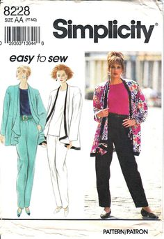 Simplicity 8228 Woman Tapered Pants Shell Top Loose Fitting