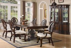 Furniture Outlet, Formal Dining Table Set, Carving, server, buffet, hutch, china cabinet, double pedestal table, leaf, coaster, 101307, 101038, 101039, 101040, arm chair