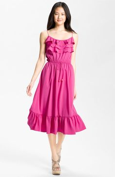 Eliza J Ruffle Trim Crepe de Chine Prairie Dress