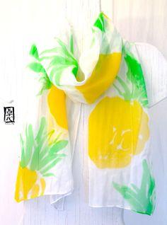 Hand painted Silk Scarf Yellow Pineapples por SilkScarvesTakuyo, $49.00
