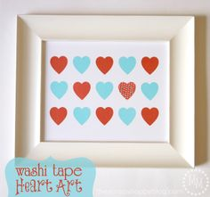Valentine's Day Washi Tape Heart Art {Lifestyle Crafts} -- such a sweet, personal (and easy!) #ValentinesDayGift! Want to frame your own in white, like this? Chosee from our 50+ different shades: http://www.pictureframes.com/frameindex/Colors_White_Picture-Frames.html