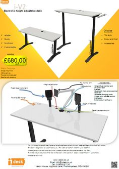 I V2 Desk Solutions Ltd Height Adjule Integrated Pc Desks