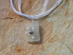 White Sea Glass Necklace Wire Wrapped by UniqueChiqueJewelry, $15.00