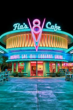 Flo's V8 Cafe~ Cars Land, Disney California Adventure - neon - (adore walking by this lovely 50's blue cafe in DCA in the day or night)