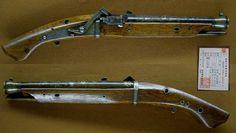 火縄式短筒 千代丸作 真鍮筒銀象嵌 Antique Gun Hinawatanzutu [Tiyomaru saku]