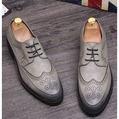 Retro Vintage Gray Leather Wedding Prom Dress Brogue Oxford Shoes Men SKU-1100213