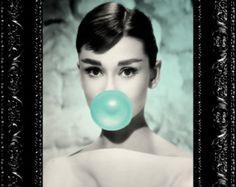 Audrey Hepburn - Breakfast At Tiffany's - Tiffany Blue - Blowing Bubblegum - Movie Star - 8x10 Giclee Art Print