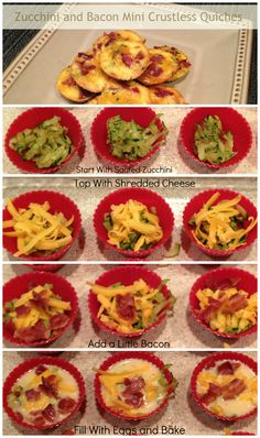 Carolina Food Storage: Zucchini and Bacon Mini Quiches Breakfast Time, Breakfast Recipes, Great Recipes, Favorite Recipes, Delicious Recipes, Recipe Ideas, Easy Recipes, Low Carb Recipes, Cooking Recipes
